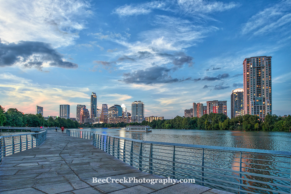 Sunset from the new boardwalk with the city of Austin Skyline and tourist boat. (Tod Grubbs & Cynthia Hestand)